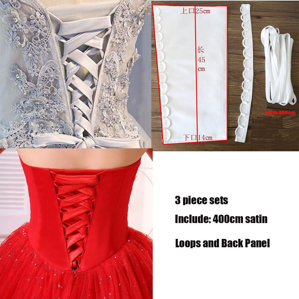 Loops With Back Panel 3piece Set Satin Corset Wedding Gown Replace zipper