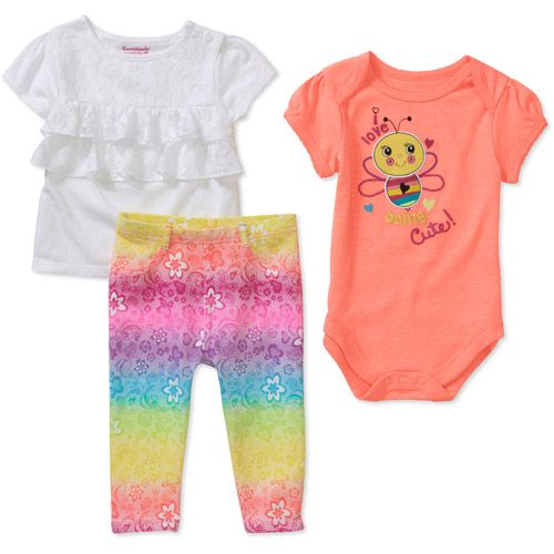 d50678dbcbe Garanimals Newborn Girls  3 Piece Creeper and Pant Set  Baby Clothing    Walmart.com