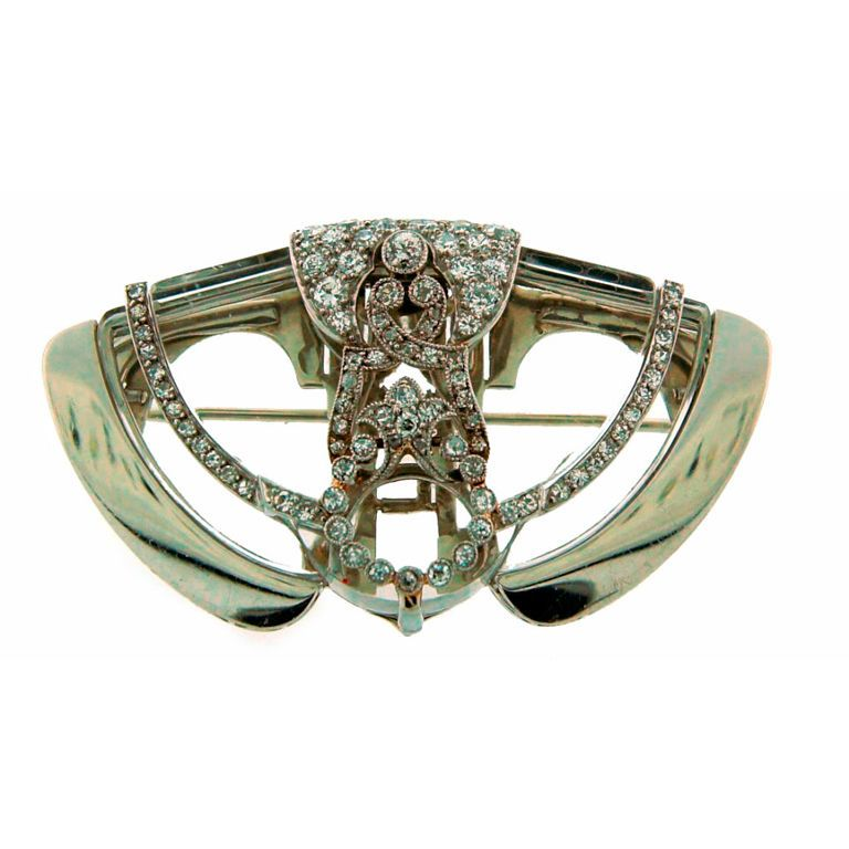 Art Deco Diamond, Rock Crystal & Platinum Brooch / Clip ...