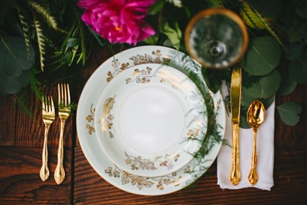 Midsummer Night's Dream Wedding Inspiration   mismatched china from rentmydust.com
