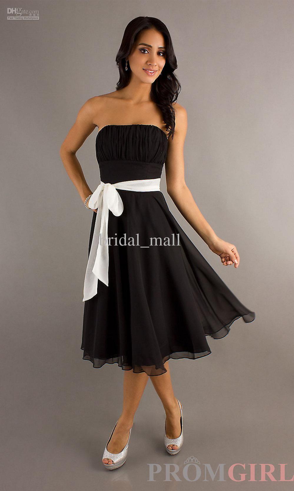 Tea Length Black And White Wedding Dresses Strapless Ribbon Sash Graduation Xj82