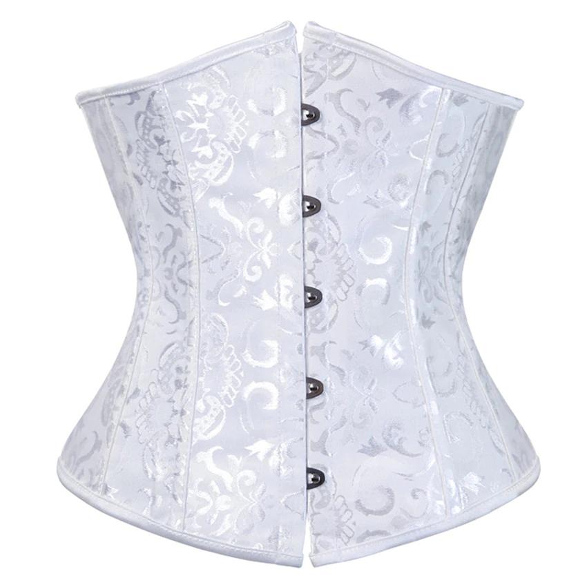 Ladies Palace Lace Boned Floral Pattern Underbust Corset Waist Cincher
