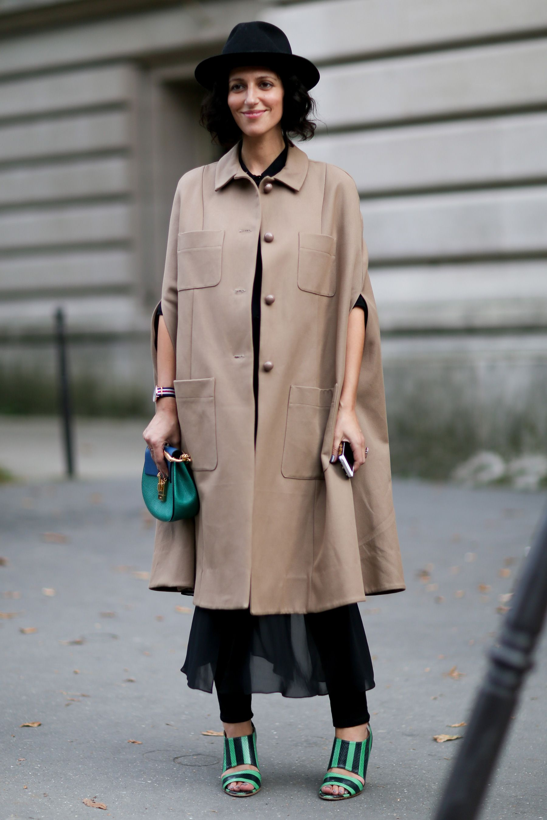 Find fall capes at ShopStyle.com | Paris Fashion Week Street Style