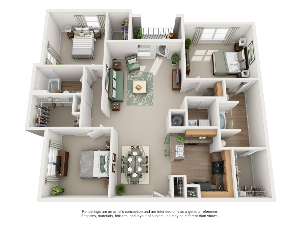 Luxury 1 2 And 3 Bedroom Floor Plans Carrington Park Apartments