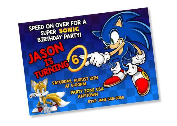 Sonic Cumpleaños Fiesta Invitación Digital Imprimible
