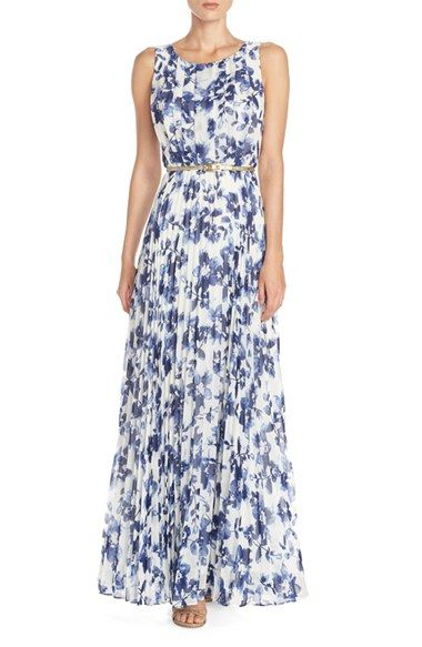4c1deddbf3d6e Free shipping and returns on Eliza J Floral Pleat Chiffon Maxi Dress at  Nordstrom.com. Watercolor-inspired blooms wash over an ethereal maxi dress  defined ...
