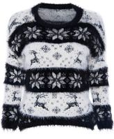 Cute Black And White Christmas Sweater For Women With Reindeer And