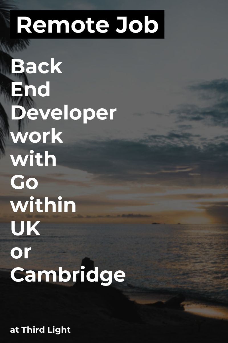 Remote Back End Developer work with Go within UK & or