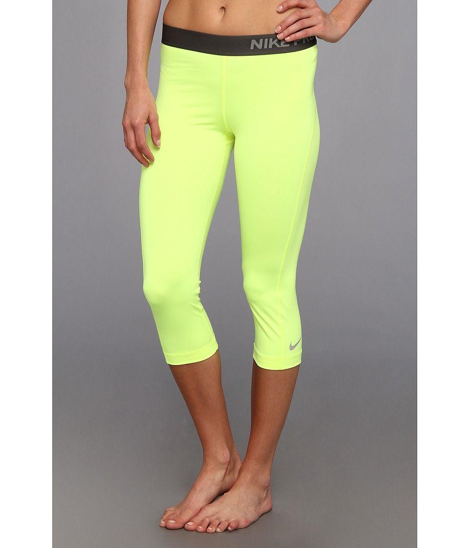 Bright yellow nike pro capri nike pros nike leggings