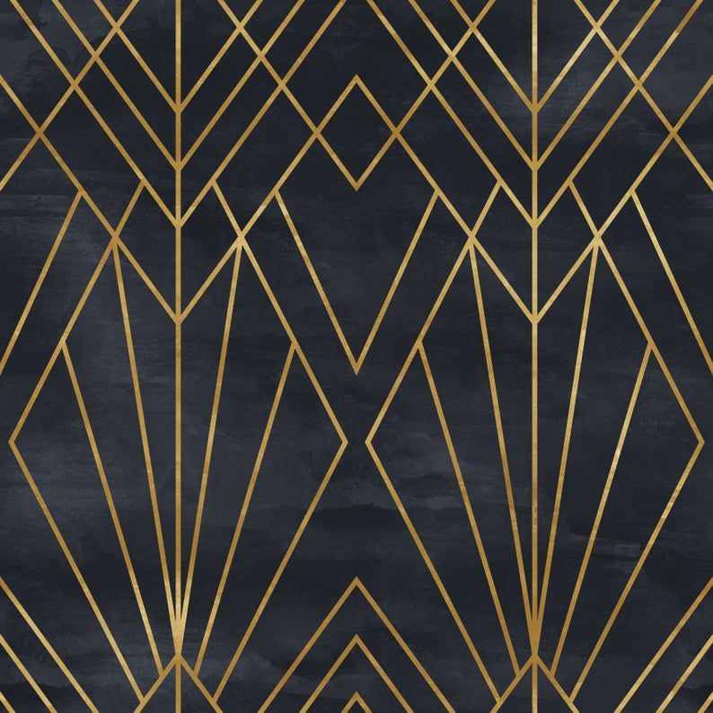 Removable Peel N Stick Wallpaper Self Adhesive Wall Etsy In 2020 Art Deco Pattern Art Deco Design Art Deco Wallpaper