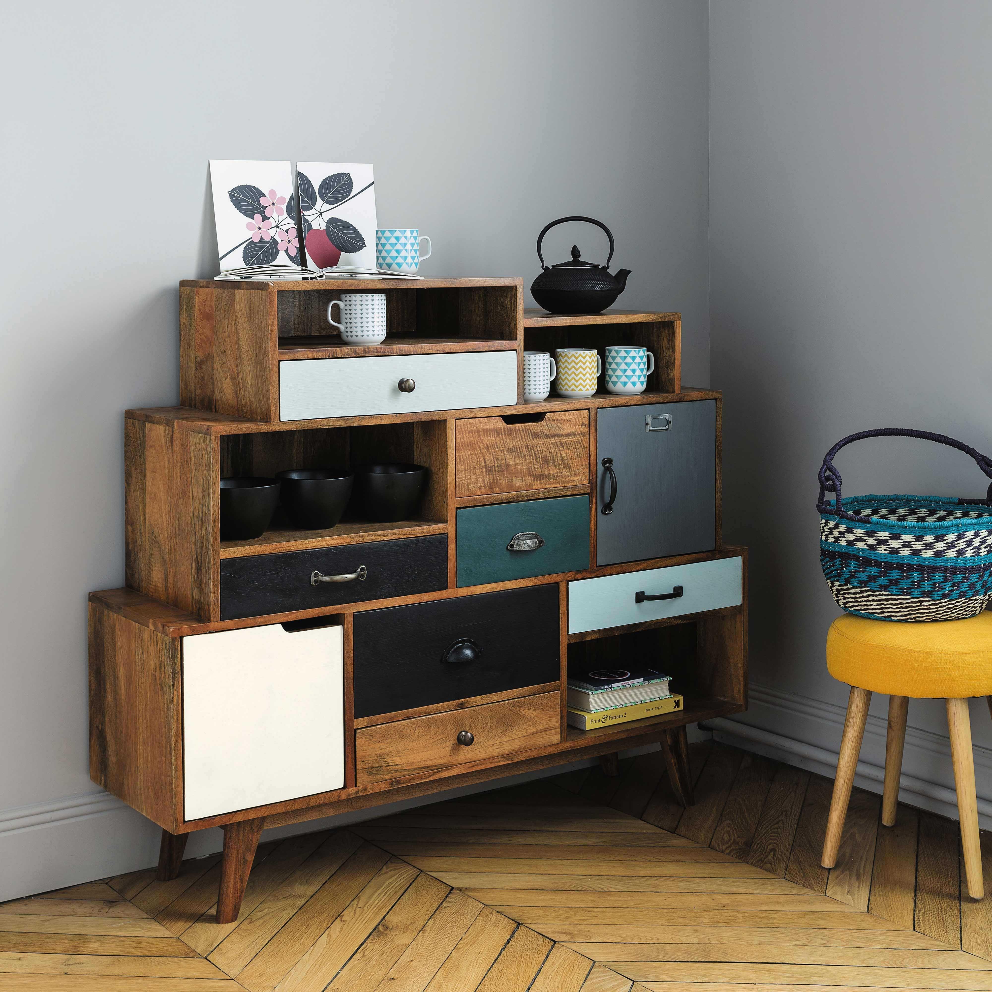 Cabinet De Rangement Vintage En Manguier Massif L 125 Cm Dresser  # Rewind Muebles Vintage