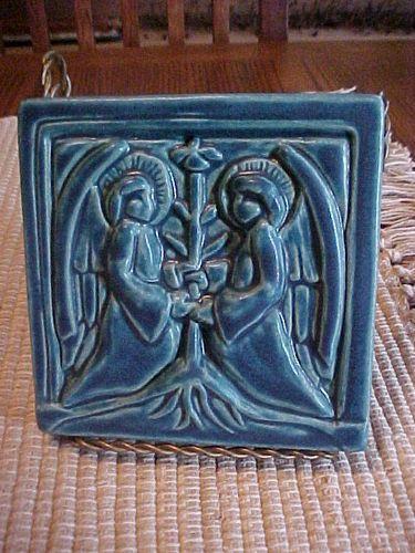 Arts Craft Matte Blue Pewabic Pottery Tile Angels Tree Of Life 5 3 4 Detroit Pewabic Pottery Ceramic Art Antique Ceramics