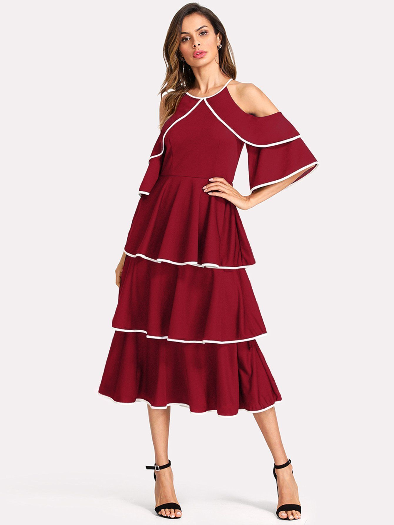 Contrast Binding Open Shoulder Tiered Flounce Dress In 2018