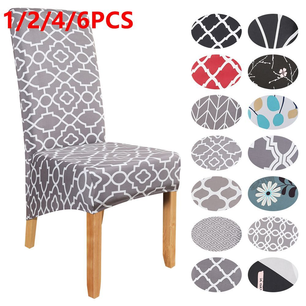 1//2//4//6PCS Elastic Dining Chair Covers Slipcovers Kitchen Chair Protective Cover