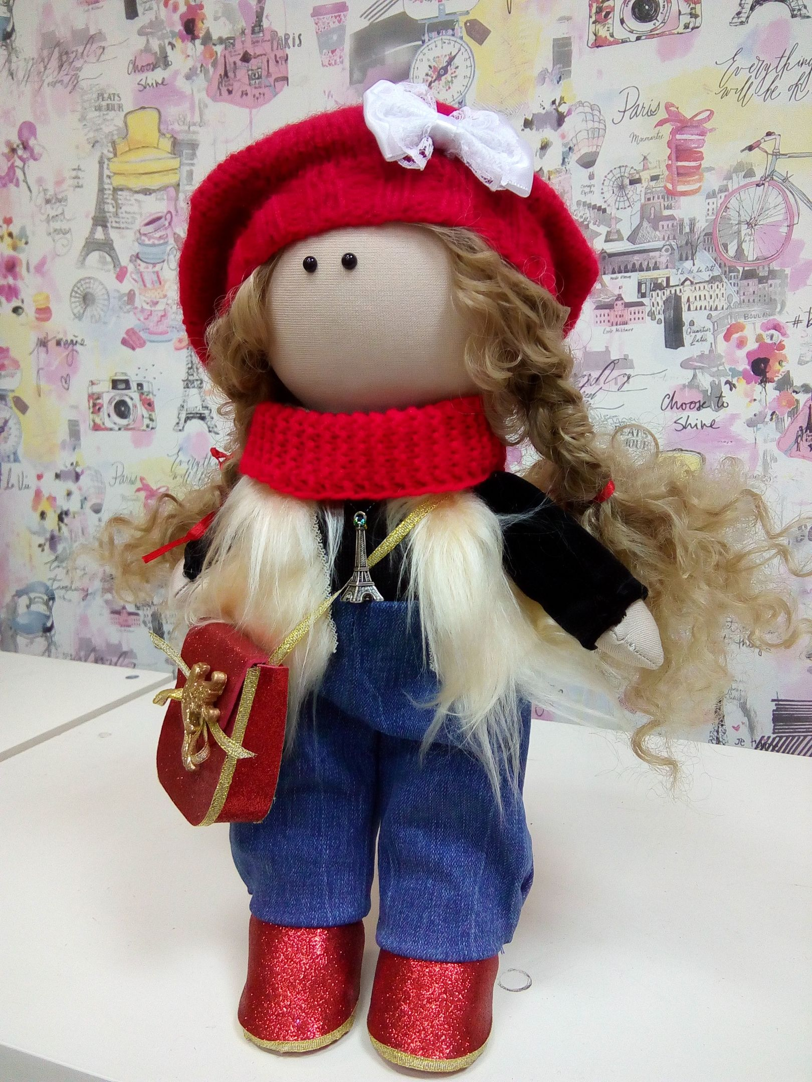 How to sew textile interior doll 37