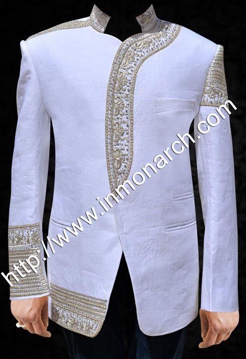 Neck open designer Jodhpuri suit made in pure linen fabric. It has ...