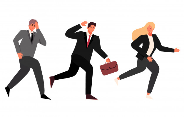 Illustration Of Businessman And Businesswoman Running Away From Being Chased By Something Running Illustration Business Man Businessman Illustration