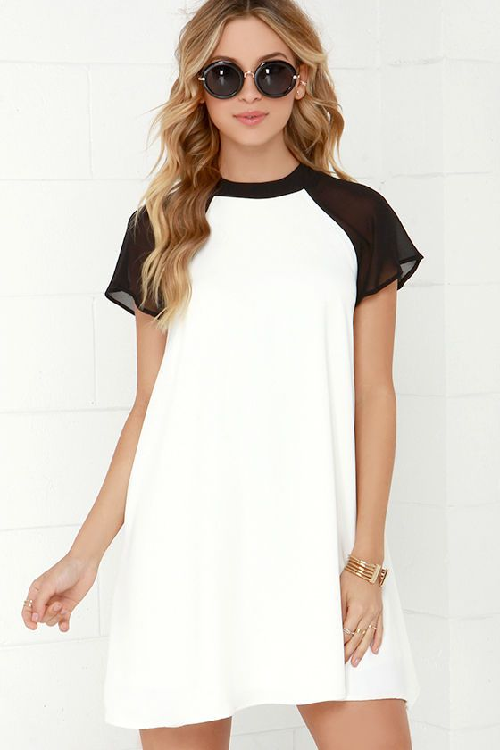 In the Ballpark Black and Ivory Swing Dress | Sporty, Sleeve and ...
