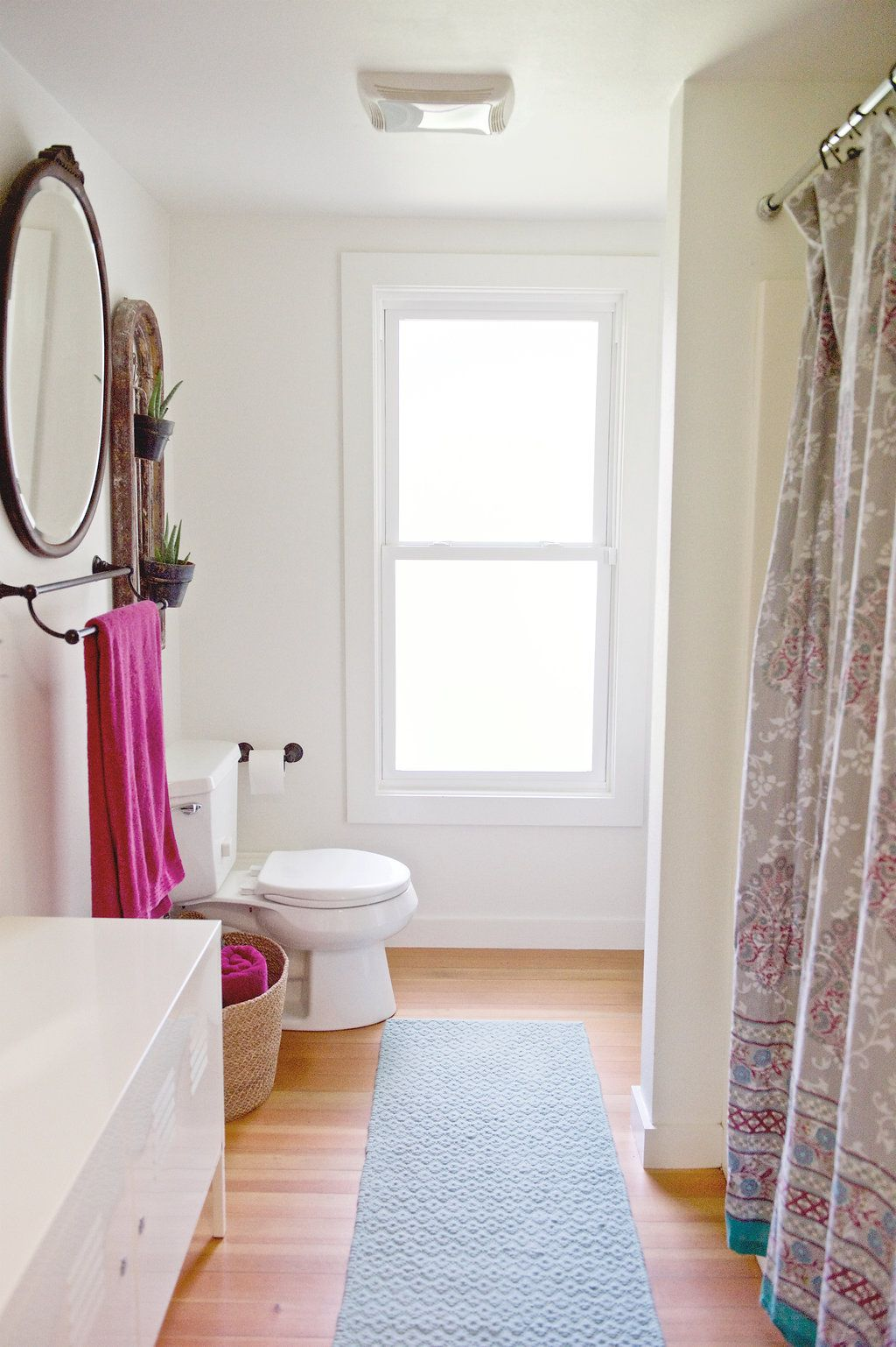 Galley-style bathroom. We call it the hall of mirrors. And plants ...