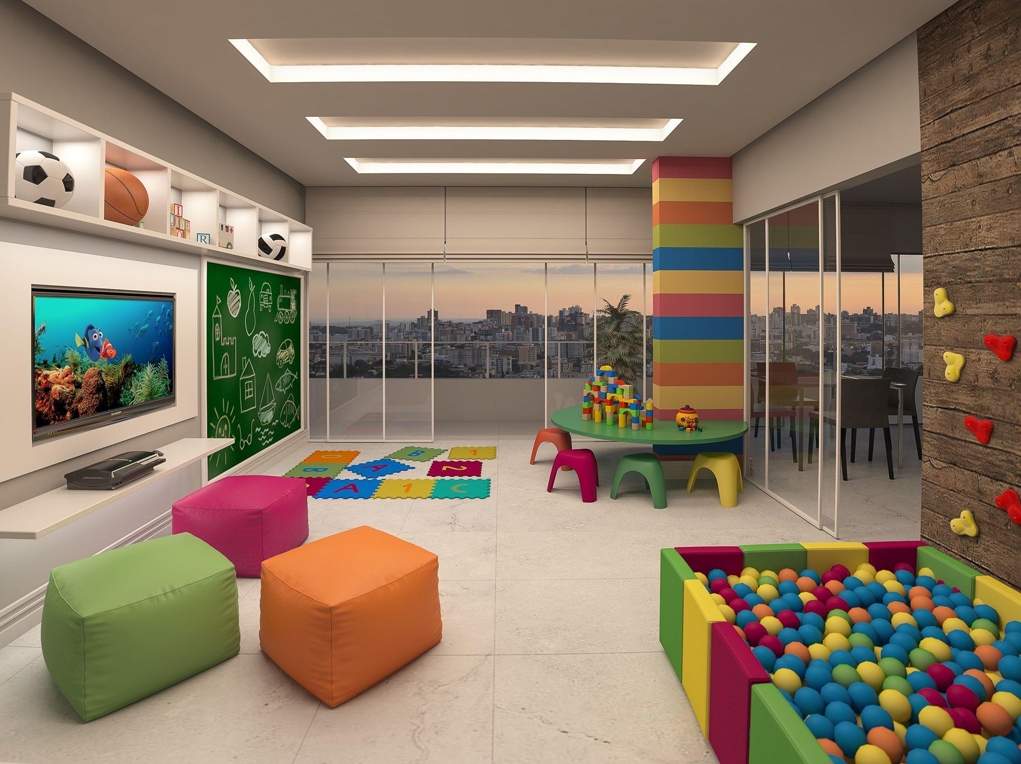 Brinquedoteca com piscina de bolinhas area de estar for Sala de estar infantil