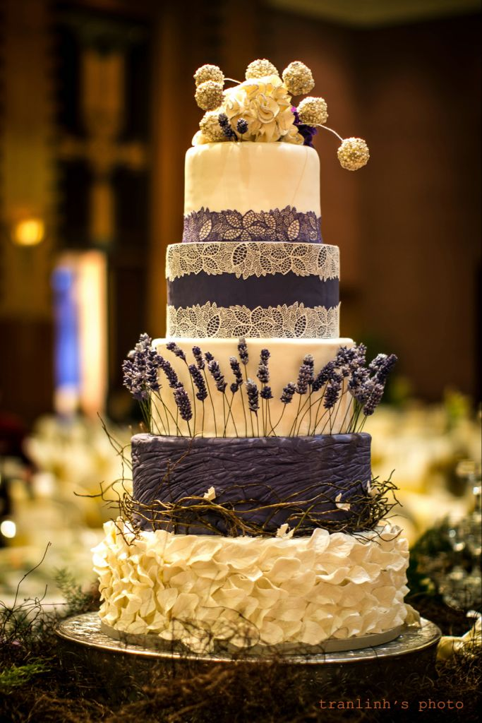 Navy Blue And Lavender Wedding Cake