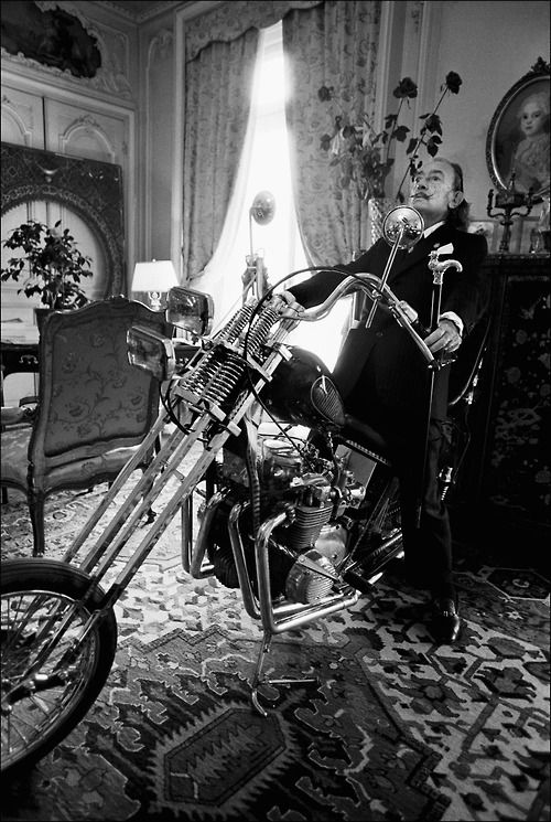 Salvador Dali on a chopper in a living room. This is yet another reason this man is my all time favorite!