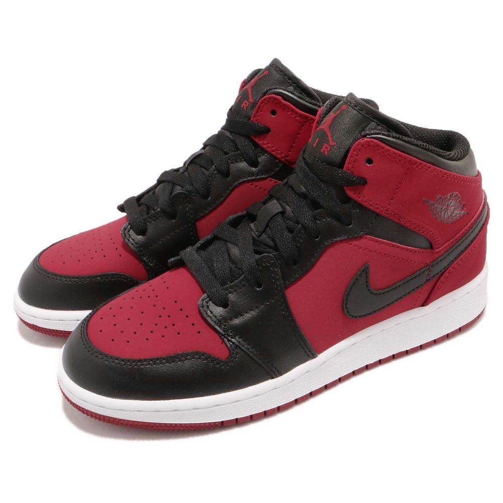65f30bca9f7c Nike Air Jordan 1 Mid GS I AJ1 Banned Red Black Kid Youth Women Shoes  554725-610  AirJordan  Jordan