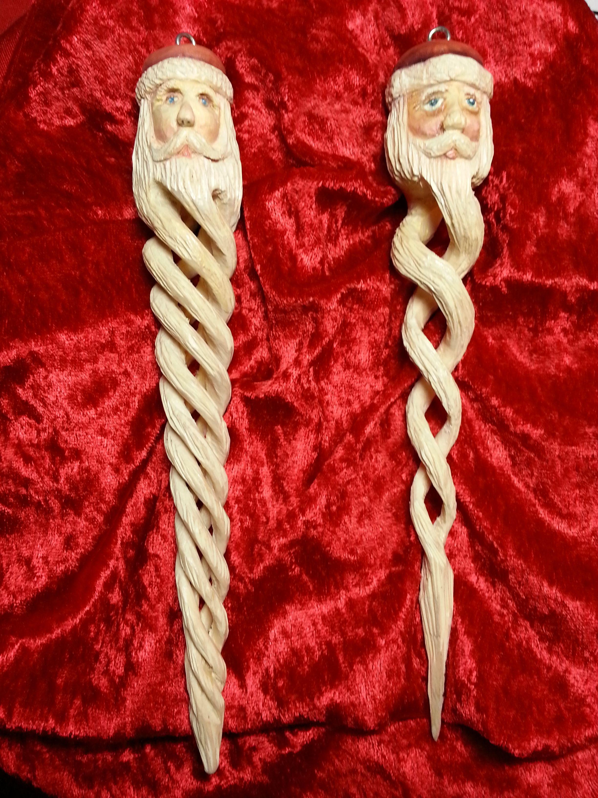 Hand Carved Spiral Santa Ornaments Wood Carving Patterns Wood Christmas Ornaments Wooden Christmas Crafts