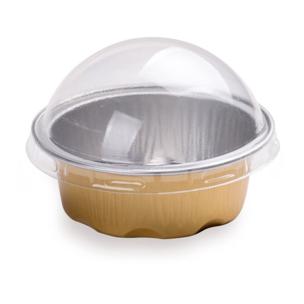 2 oz round gold aluminum baking cup plastic lid included