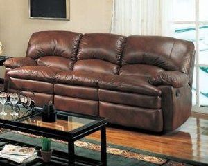 Coaster Coaster Walter Casual Dual Reclining Sofa In Brown Bonded