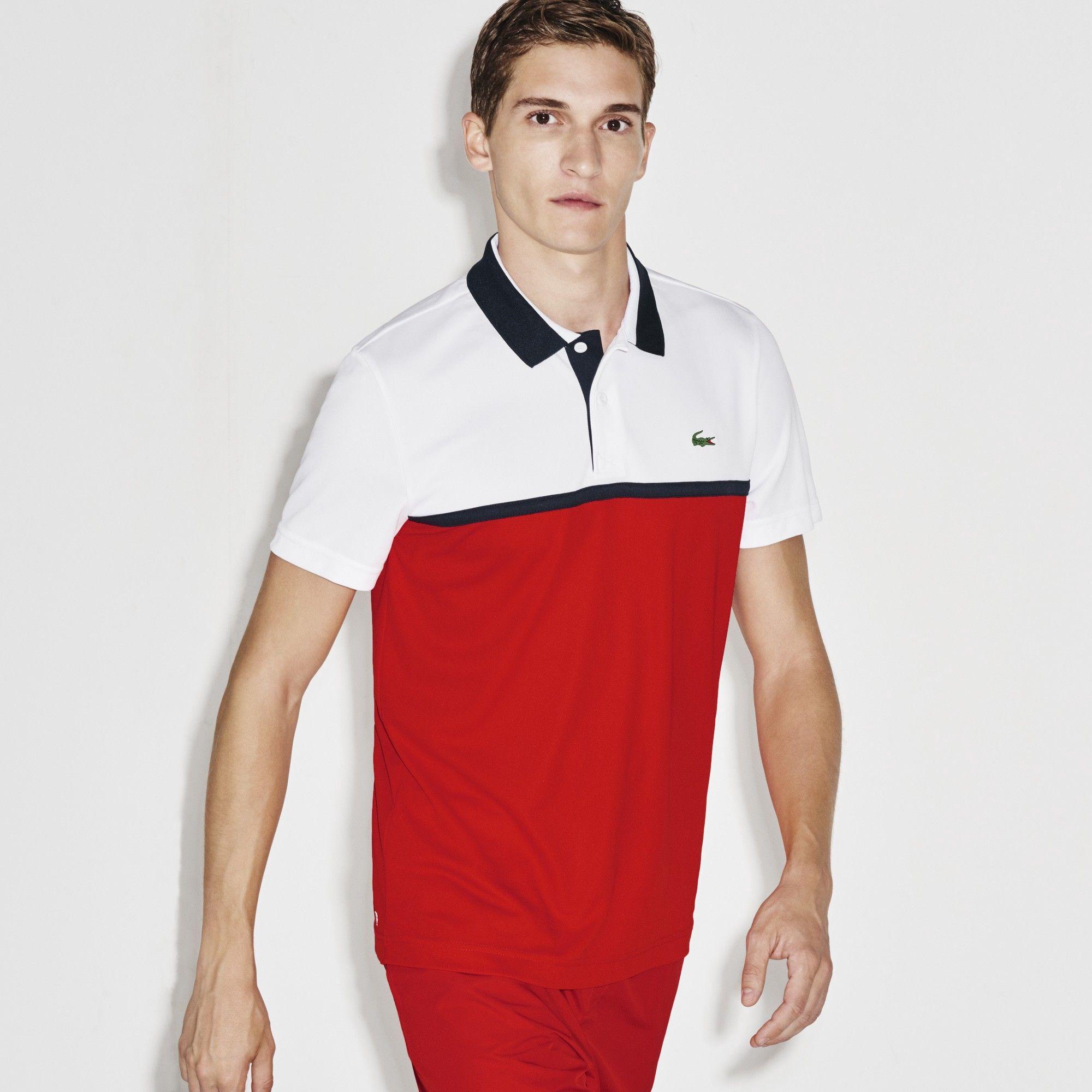 5dee0b1e LACOSTE Men's SPORT Ultra Dry Resistant Piqué Tennis Polo Shirt - white/lust  red-navy blue. #lacoste #cloth #