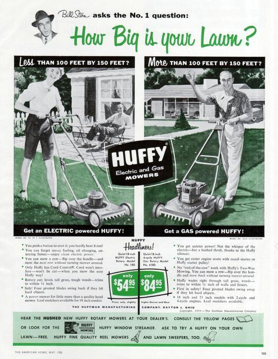 Huffy Lawn Mower Ad 1955 Green Black Electric Gas Huffman