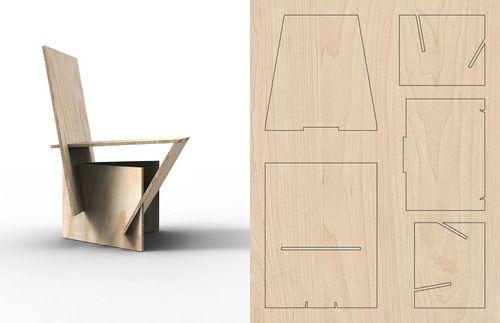 awesome slot assembly plywood chair via adrian candela cnc pinterest. Black Bedroom Furniture Sets. Home Design Ideas