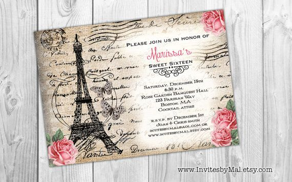 Option 5 paris themed multi purpose invitation sweet 1516 option paris themed multi purpose invitation sweet wedding going away party bridal shower birthday etc filmwisefo Gallery