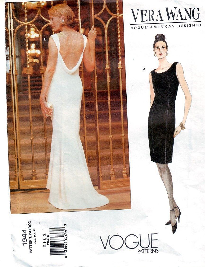 Vera Wang Designer Vogue Evening Formal Dress Pattern Uncut Multi