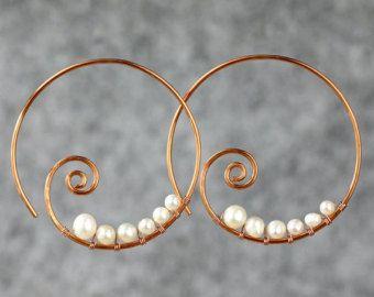 Pearl copper wiring scroll hoop earring handmade US freeshipping Anni Designs