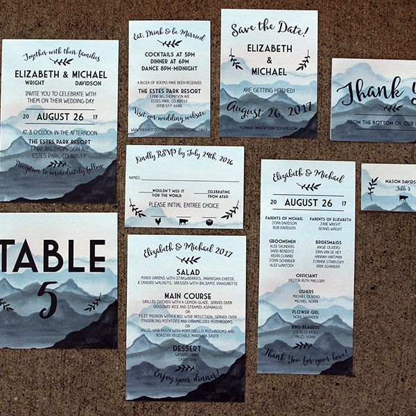 painted mountain watercolor wedding invitation for