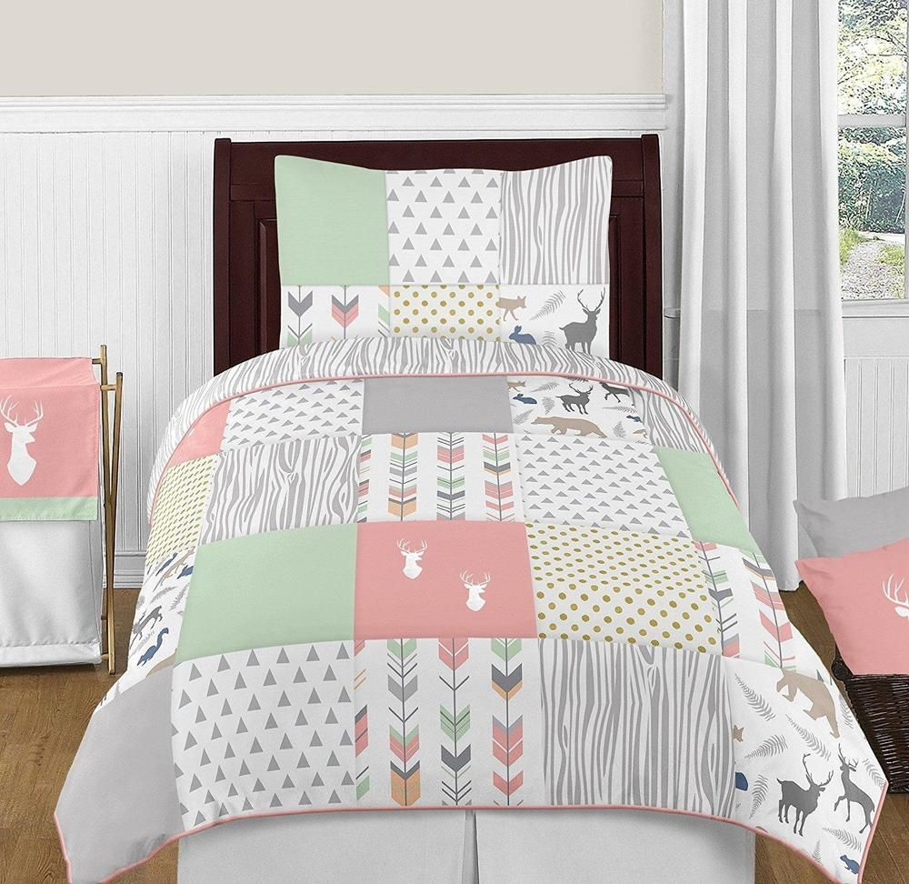 Woodsy Deer Girls 4 Piece Kids Twin Bedding Set Kids Arrow