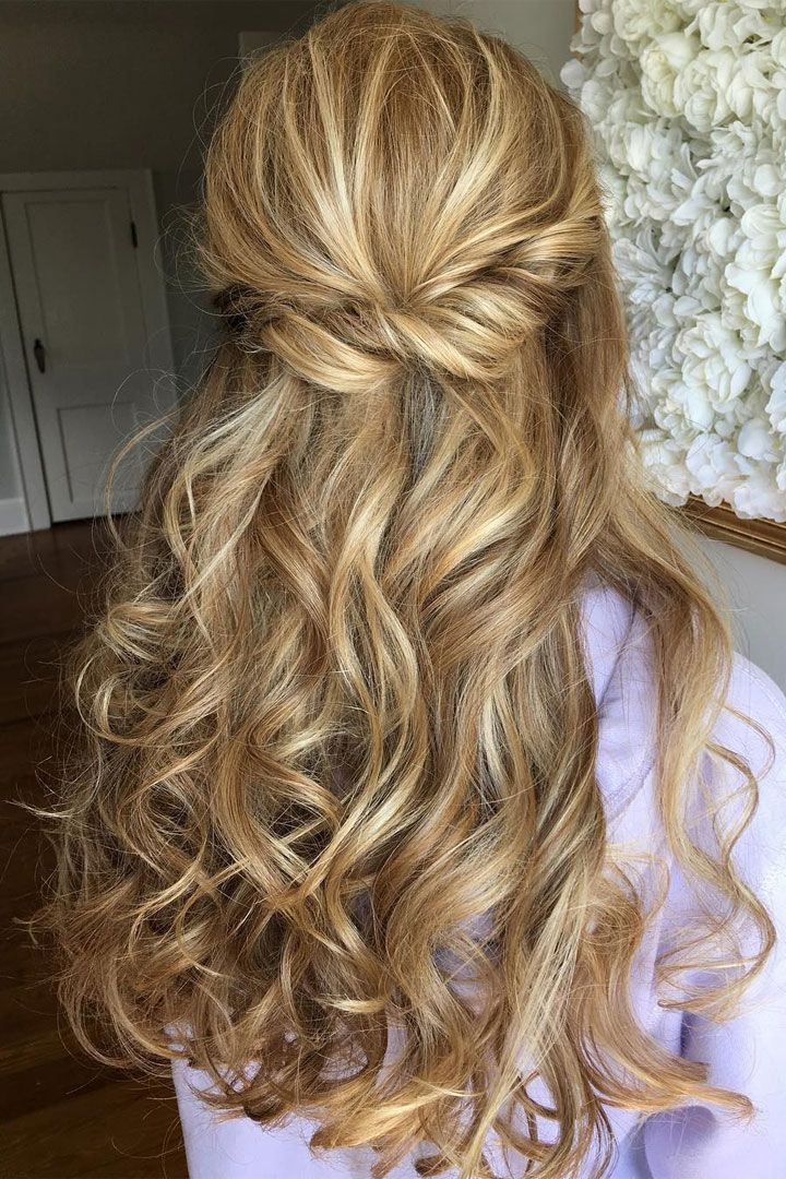 Half up half down curl hairstyles - partial updo wedding hairstyle ideas