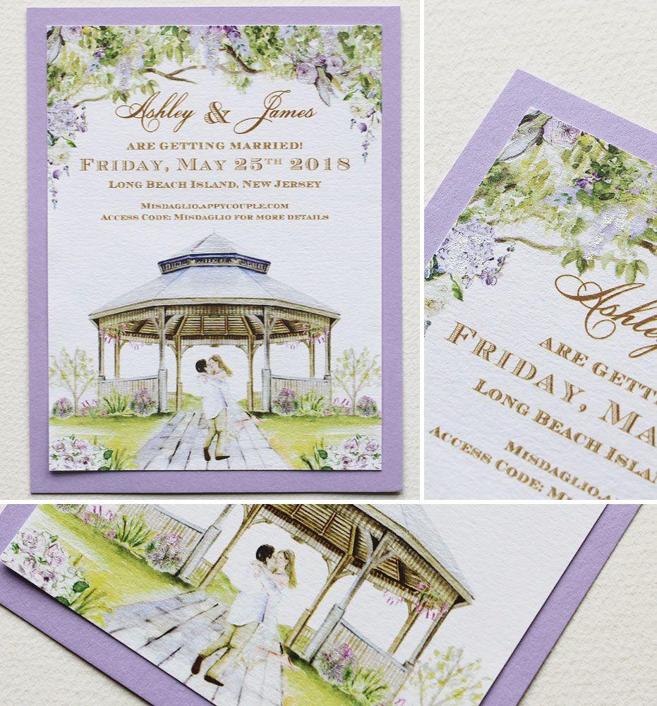 Ashley M Watercolor Seaside Venue Wedding Invite Wedding