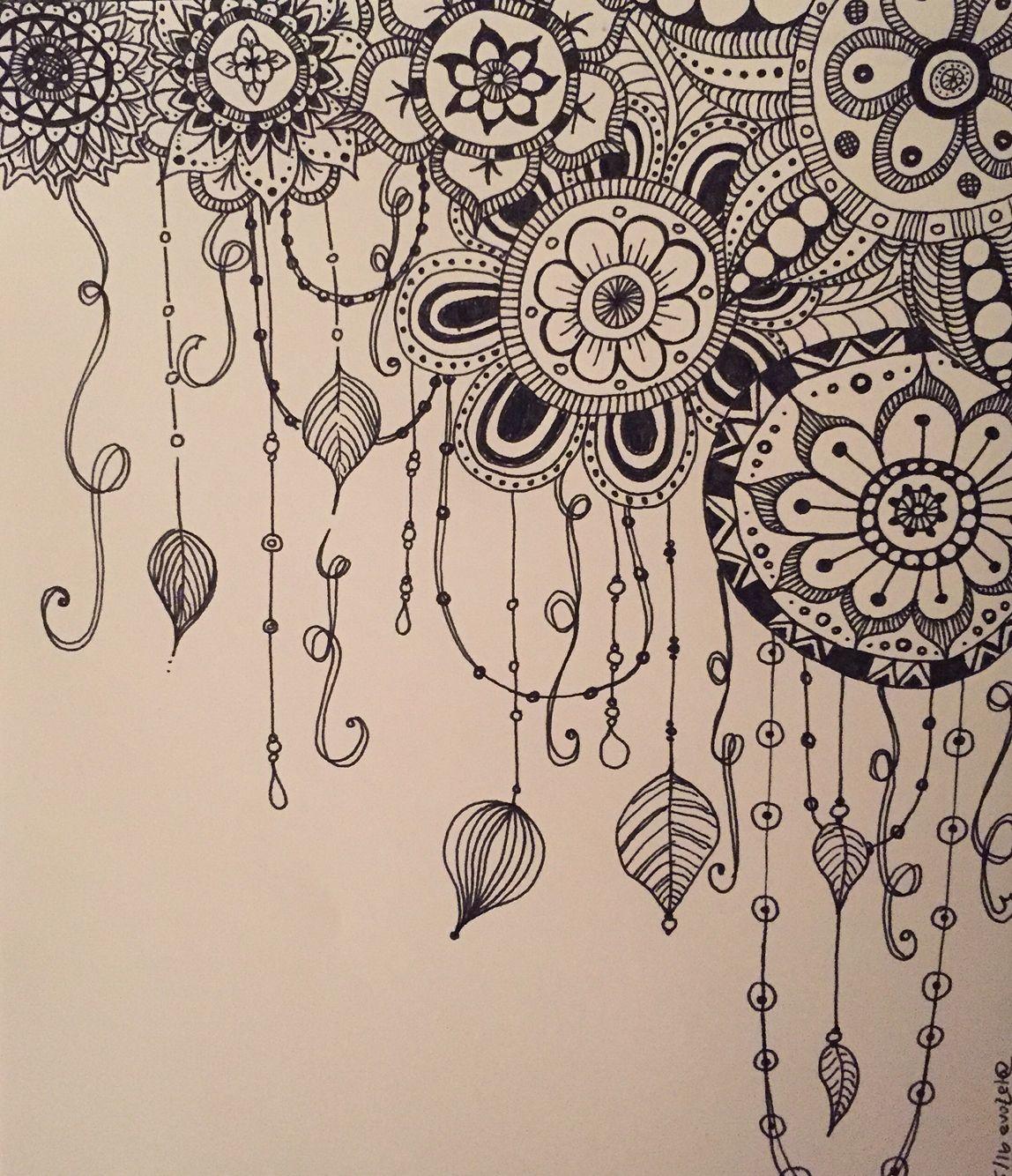 Bed Time Meditation Doodle Ornament Drawing Blackboard Art Zentangle Drawings
