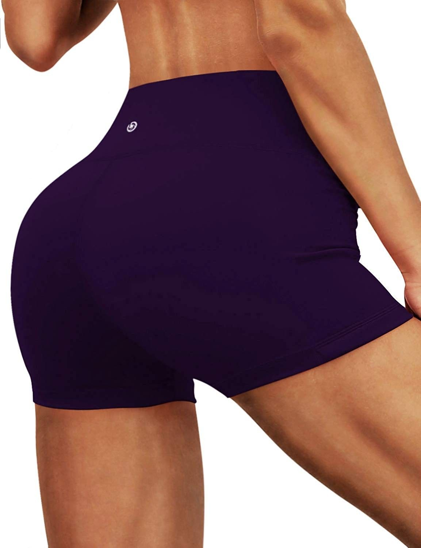 "2.5""/ 4"" Inseam Out Pocket Yoga Shorts Running Shorts Active - ""Eggplantpurple(2.5"""" Inner Pocket)""..."