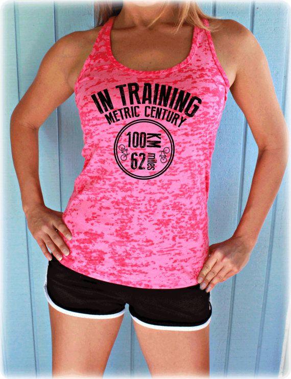 In Training Metric Century Bike Ride Bike Tank Top. 100 KM Bike Race. Cute Womens Workout Clothing. Gym Motivation. Bicycle Shirt.