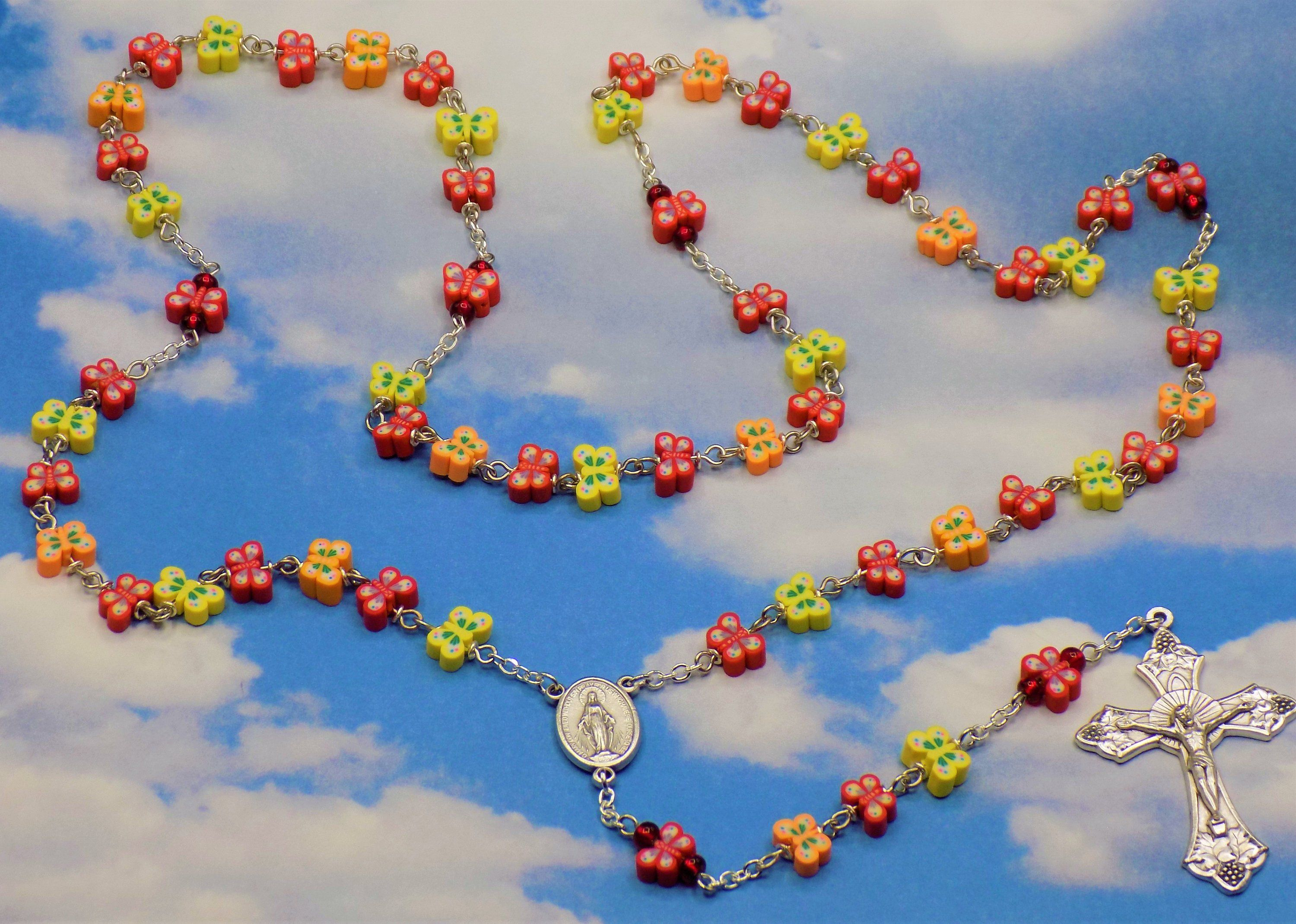 Butterfly Rosary Colorful Red Yellow and Orange Butterfly   Etsy ...