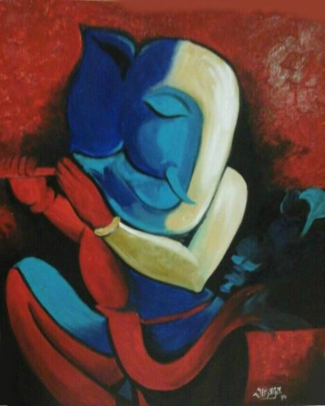 Lord Ganesha Canvas Oil Painting | Ganesha 'ART ...
