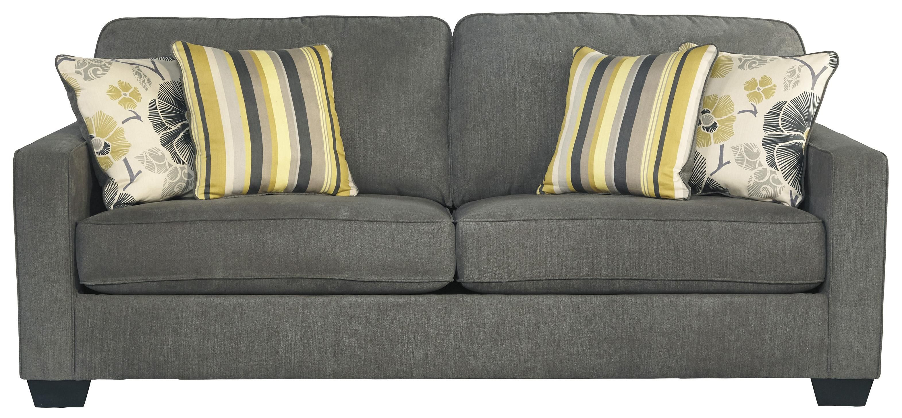 safia slate queen sofa sleeper with track arms u0026 2 loose seat cushions by benchcraft
