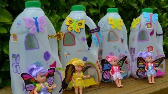 Plastic milk jug fairy houses preschool art 3d for Things to make with plastic bottles for kids