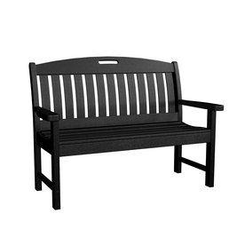 Polywood Nautical 25-In W X 51.75-In L Black Plastic Patio Bench Nb48b