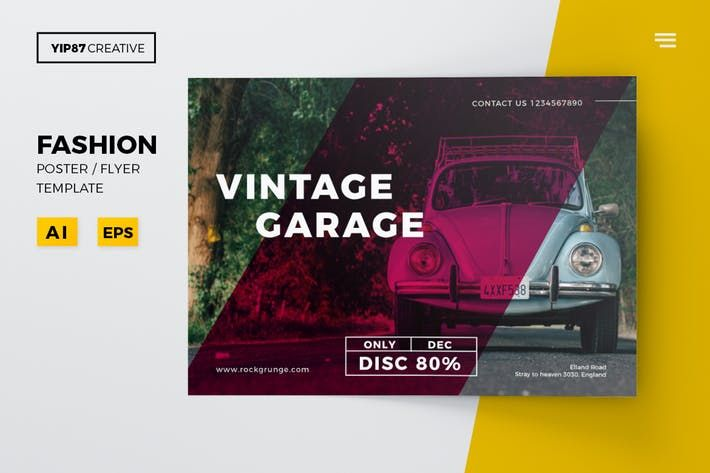 Vintage Garage Flyer #print #retro \u2022 Download here →   1 - fashion design brochure template