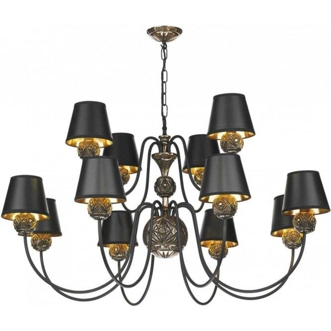 david hunt lighting novella 12 light chandelier in black and bronze